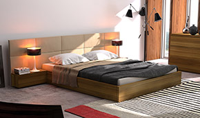 modernist bedroom furniture: beds and drawers