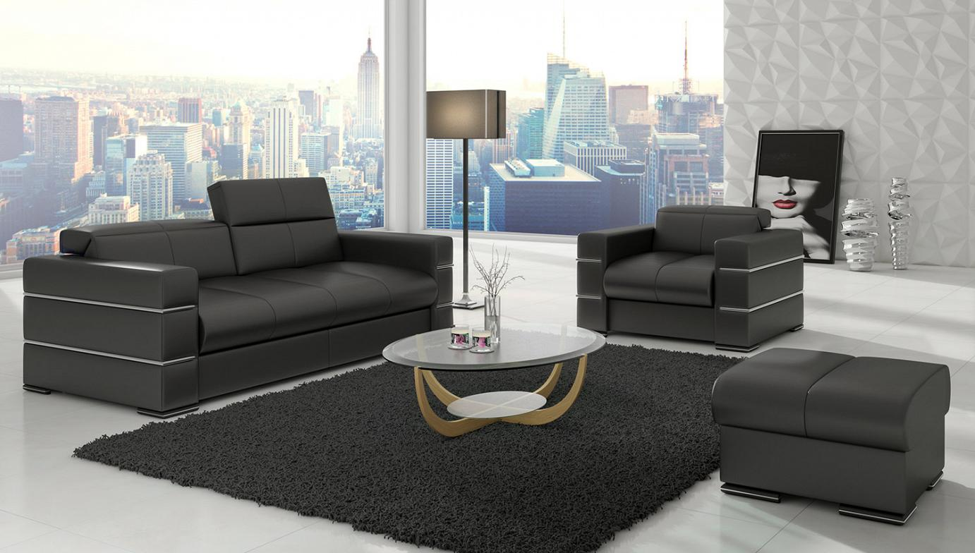 Exclusive, modern sofa, armchair and ottoman