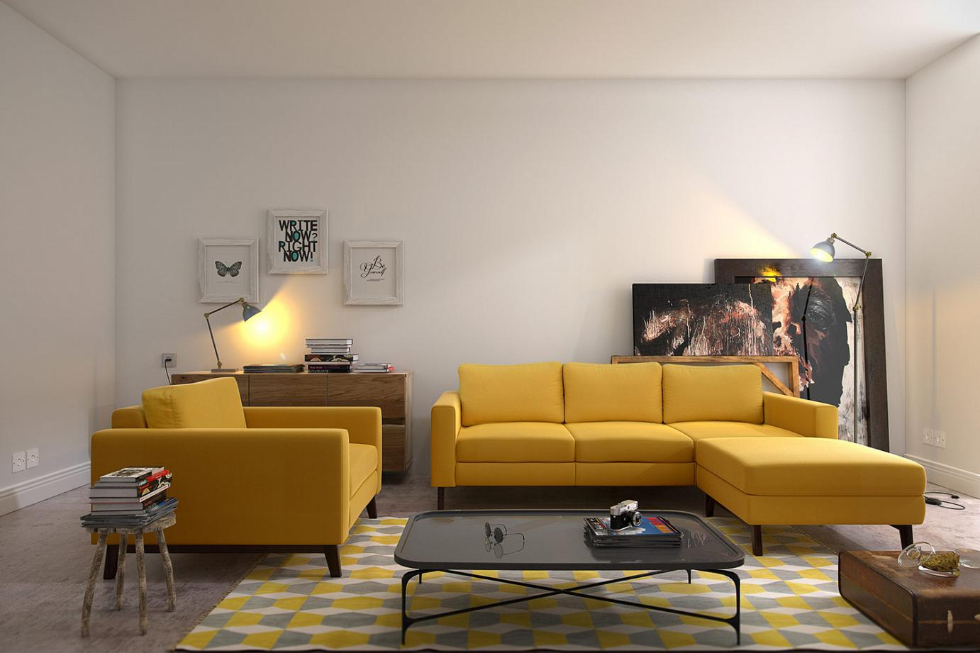 beautiful yellow sofa with wooden legs