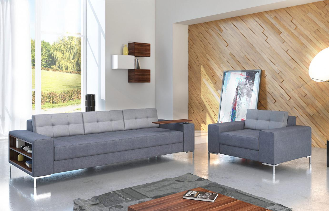 modern sofa 250 cm with elements of wood