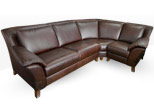corner sofa in brown natural leather