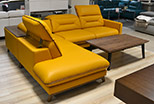 Retro upholstered with yellow natural leather