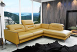 Retro styled sofa corner in the yellow natural leather