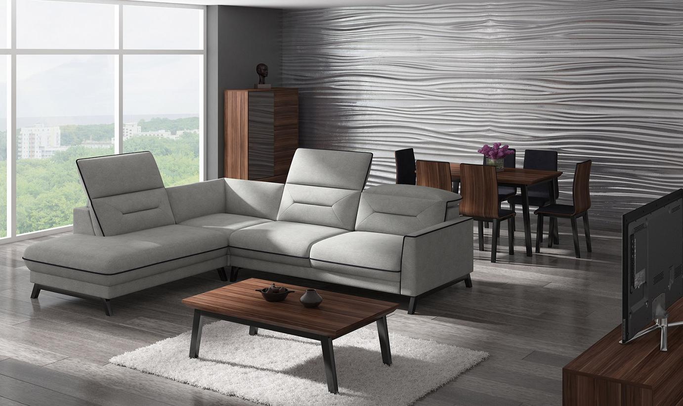 stylized corner sofa into the room