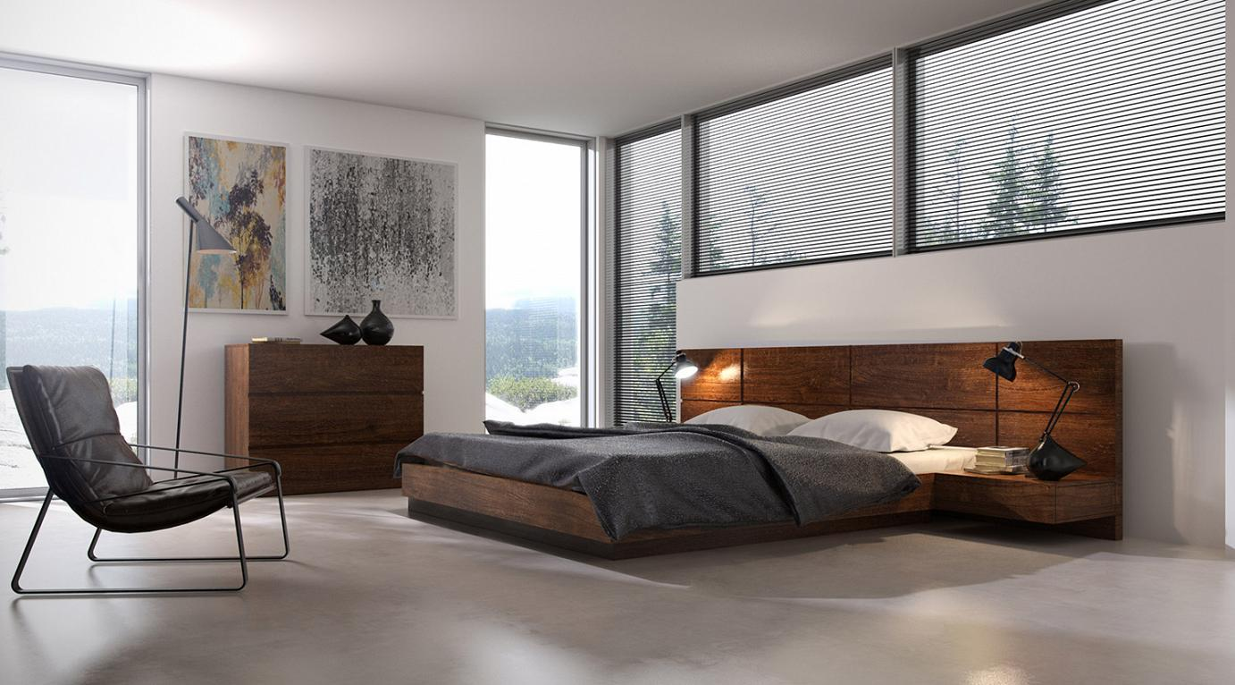 Superieur Veneered Bed With Headboard And Integral Tables ...