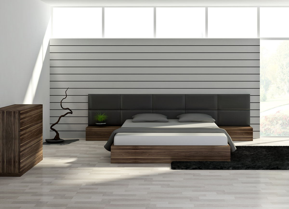 the original bed with upholstered headboard