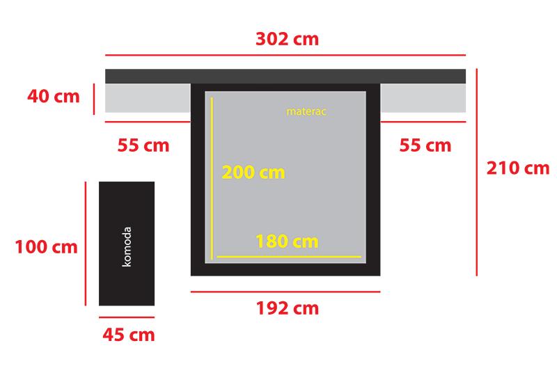 Bed Size 302 Cm X 210 Cm Sleeping Area