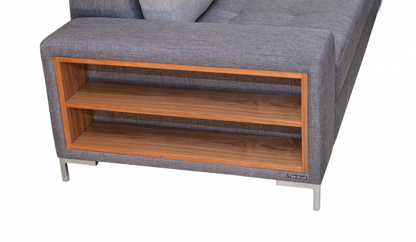 Modern Perfection corner sofa with wooden shelf