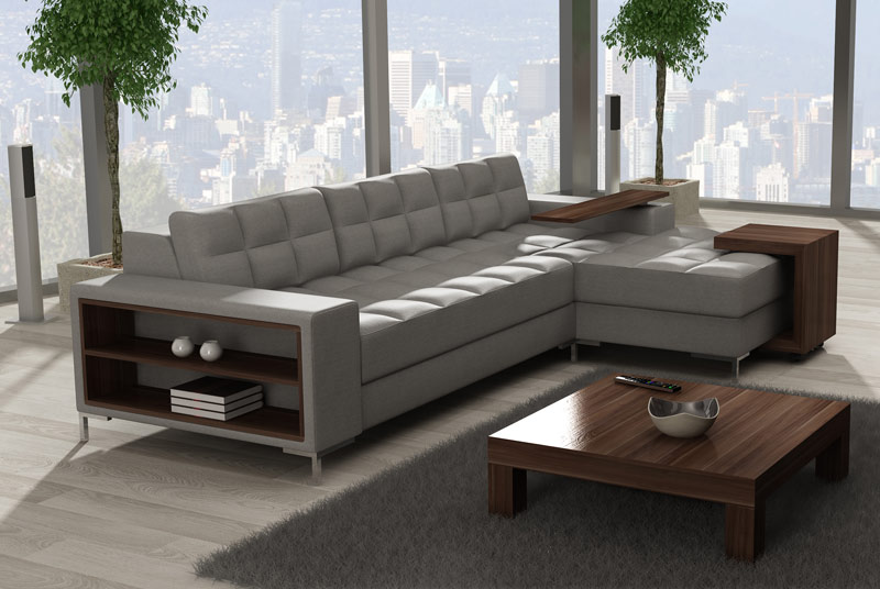 Perfection Corner Sofa With Wooden Shelf